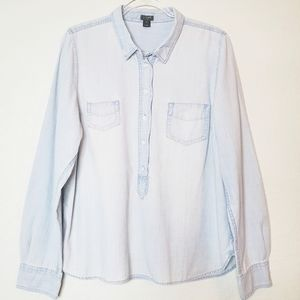 J. CREW Long Sleeve Chambray Pullover Shirt Top XL